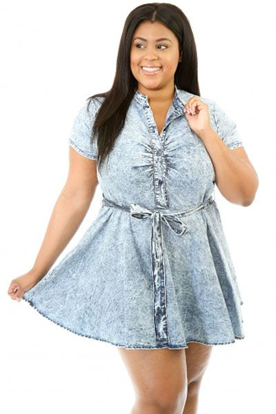 Skater Denim Plus Size Dress  c5cc59302