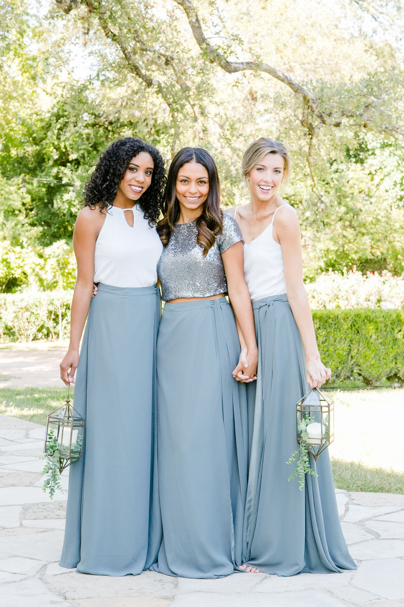 d63c61325493 Mix and Match Revelry Bridesmaid Dresses and Separates. Photo features  White sequins and eucalyptus chiffon