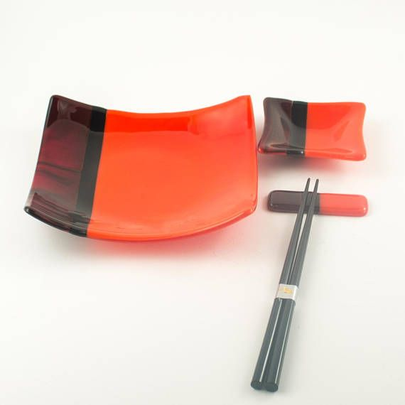 Sleek And Stylish This Fused Gl Sushi Set In Stunning Red Black Premium Art
