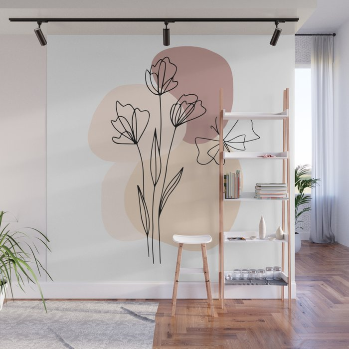 Minimal Line Art Flowers And Butterfly Wall Mural