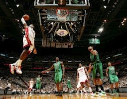 NBA 2012 Eastern Conference Finals (Game 2) Lebron James flying high as the Celtics stare in awe.