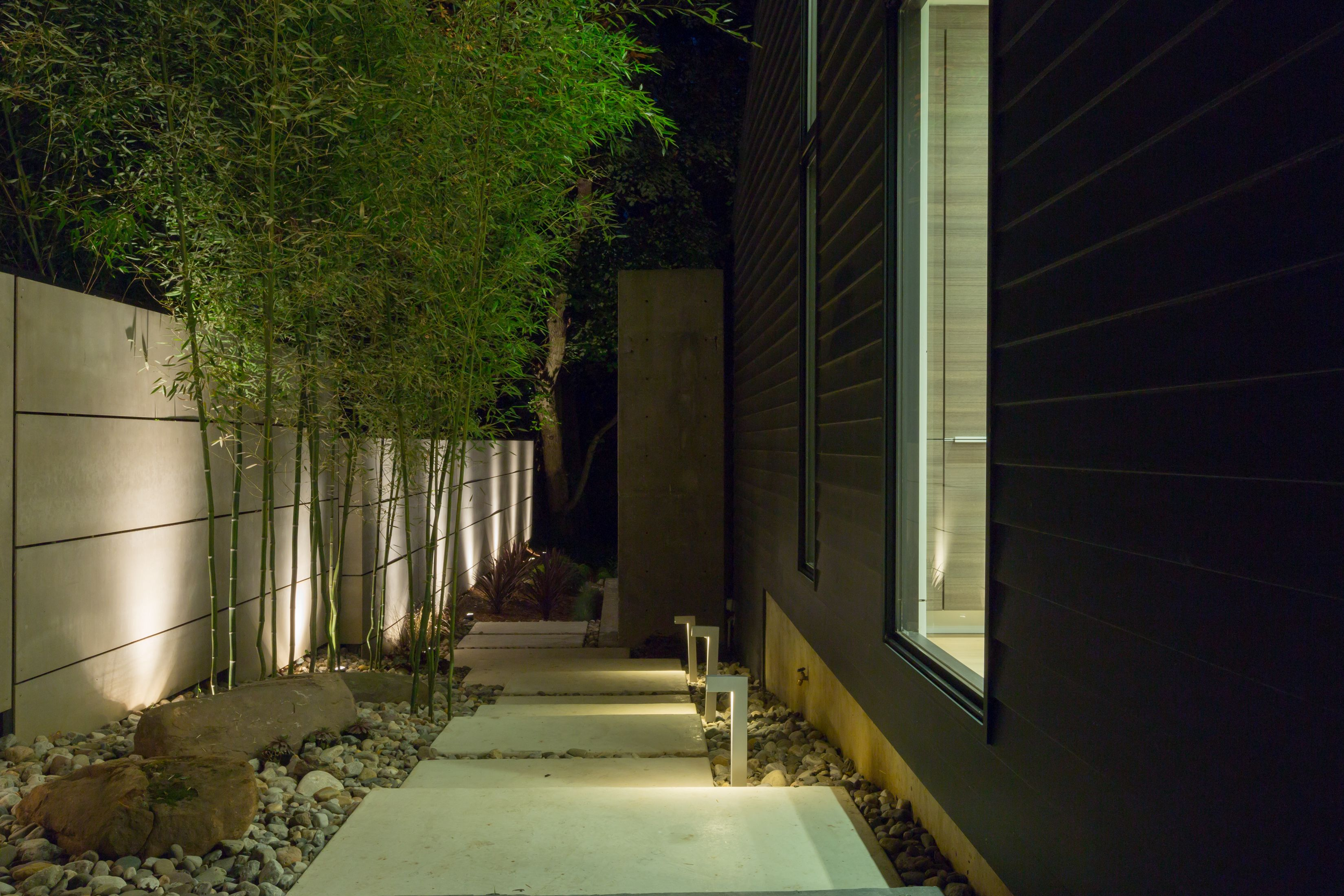 Modern pathway walkway with bamboo led path lighting for Outdoor lighting uplight