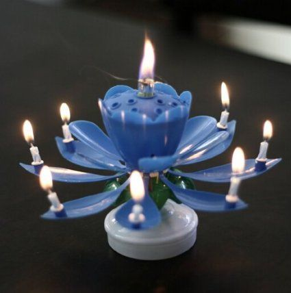 Liroyal 2 Pcs Blue Happy Birthday Candles