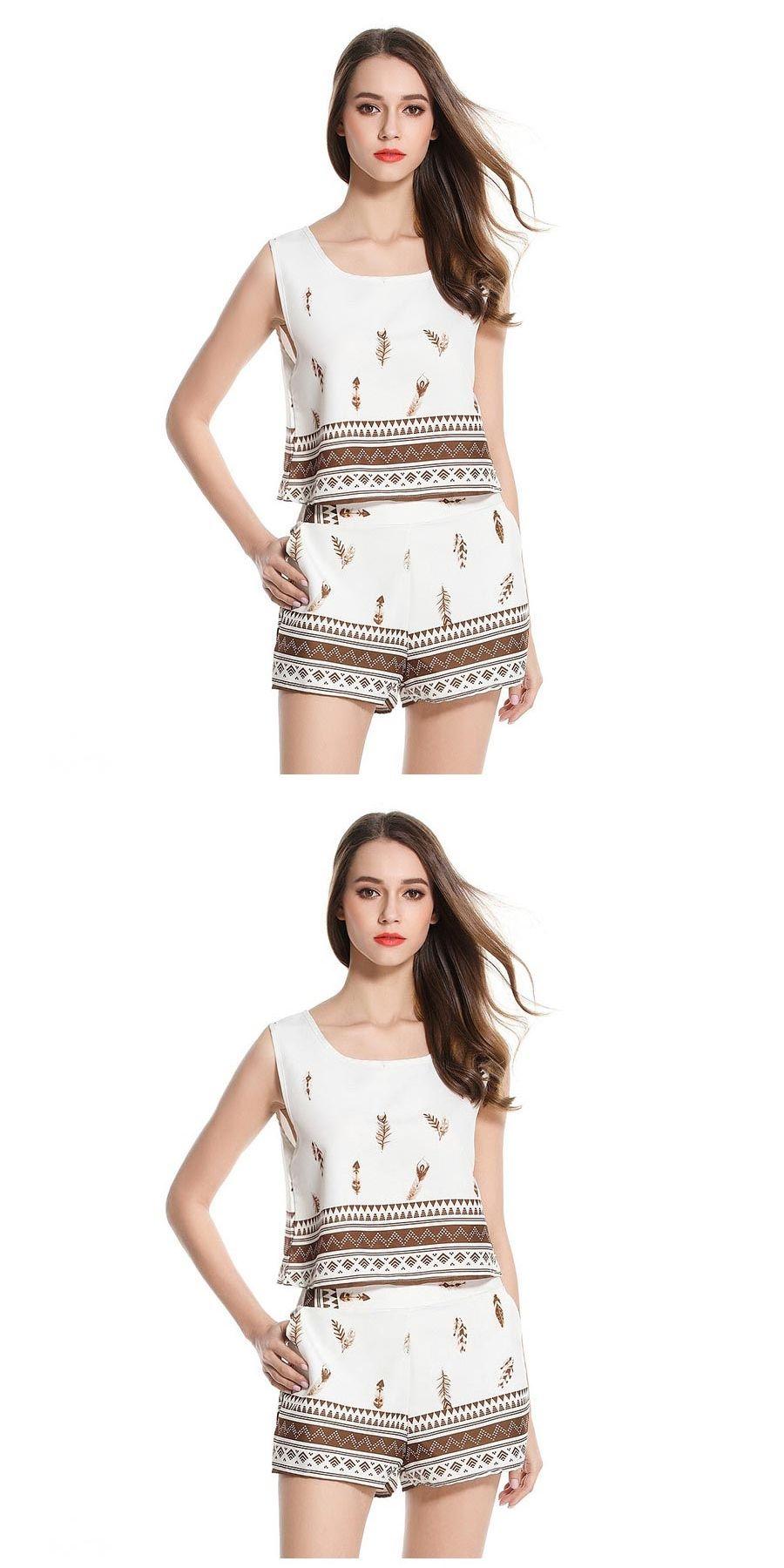 34aec0b18e3e Discover ideas about Short Set. IMC Women's New Fashion Print O Neck Crop  Tops Female Shorts Two Piece Set Summer ...