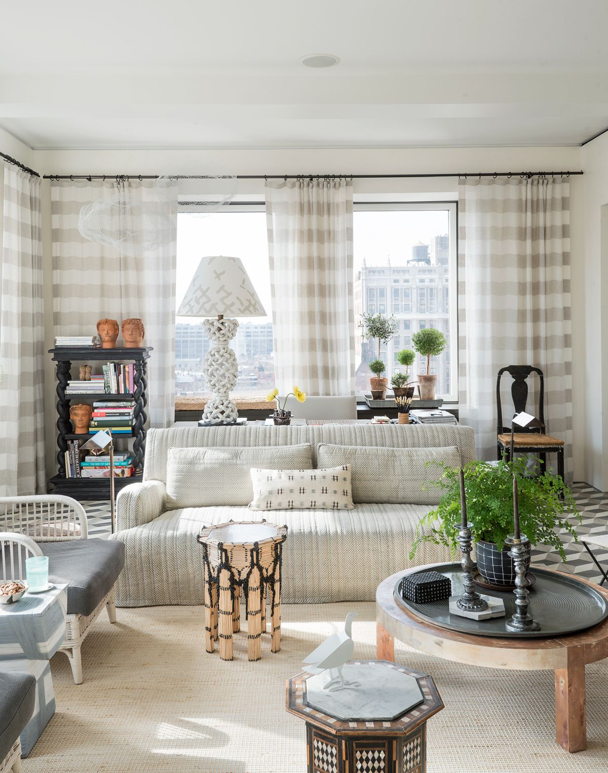 Tour An Artistic Bright And Quirky New York Art Deco Apartment Living Room Modern Modern White Living Room Family Room Design