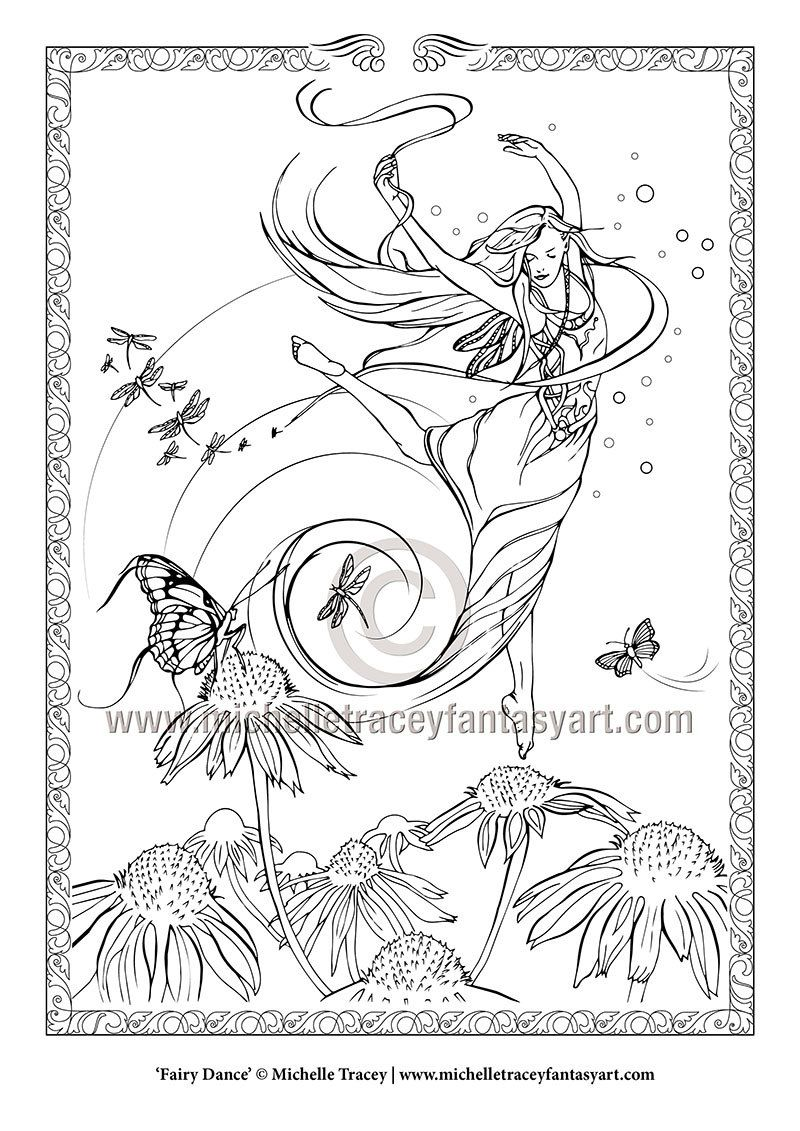 fairy coloring pages u0027fairy dance u0027 by michelletraceyart on etsy