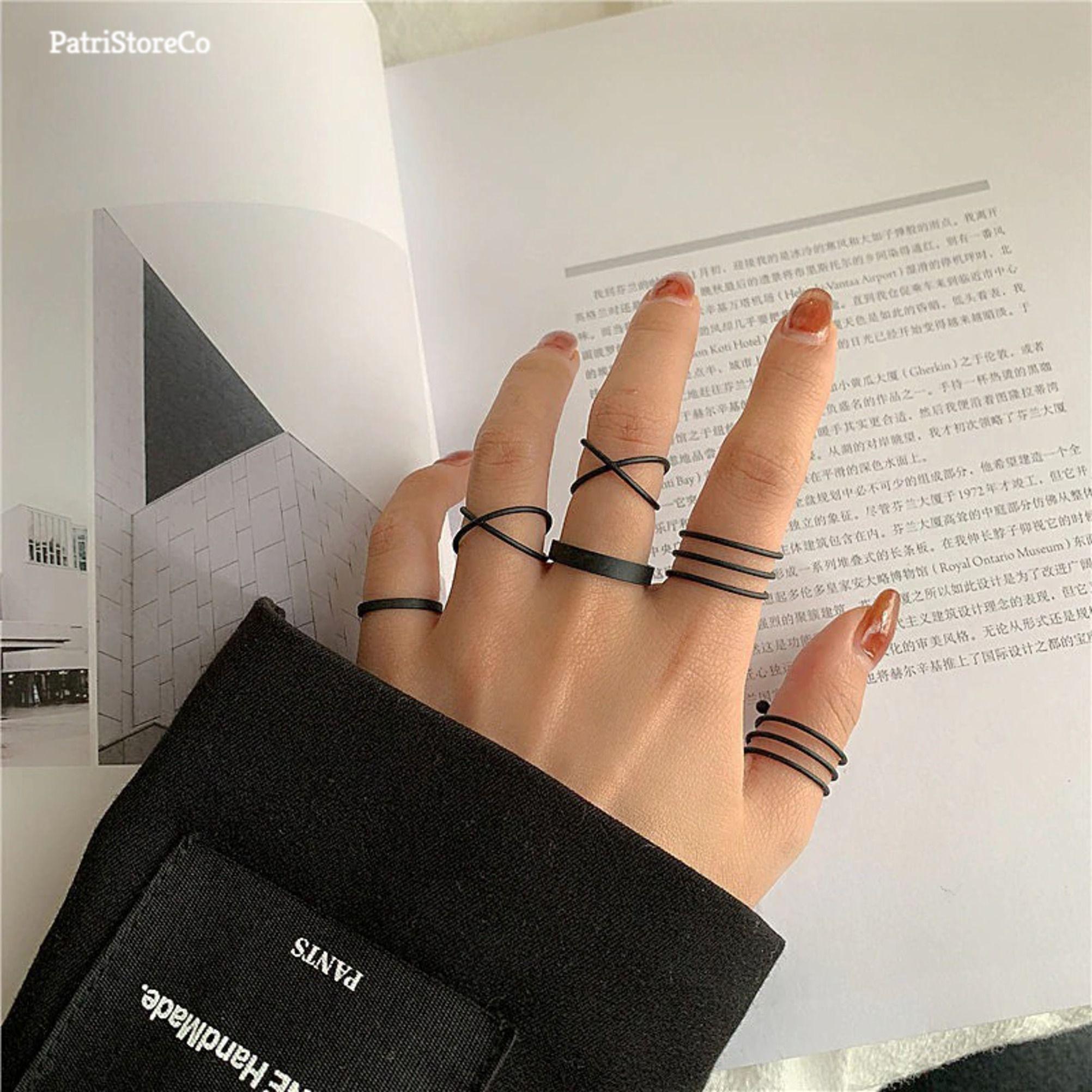 Gold Ring Set, Silver Ring Set, Black Ring Set, Cool Rings, Minimalist Ring, Streetwear Ring, Trendy Rings Set