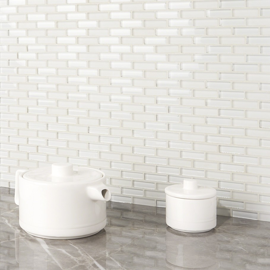 Shop For Loft Super White 1 2x2 Brick Pattern At Tilebar Com In 2020 Brick Patterns Glass Tile Super White