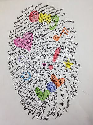 Thumbprint Self-Portrait. The kids make this based on their actual thumbprint and write a narrative about themselves... how old you are, things you like and don't like, your hopes and dreams for the future.... LOVE this!
