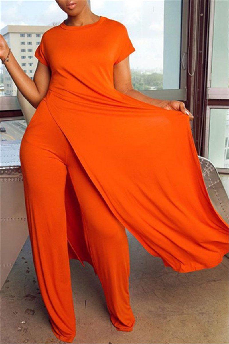 Solid Color Split Top& Pants Sets