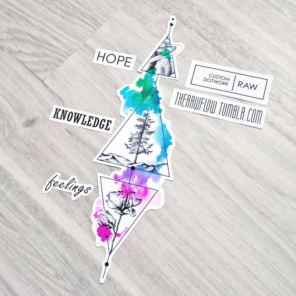 Flower tree space dotwok tattoo (symbolic design for hope