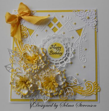 Yellow And White Birthday Card By Selma Cards And Paper Crafts At Splitcoaststampers Marianne Design Cards Beautiful Handmade Cards Cards