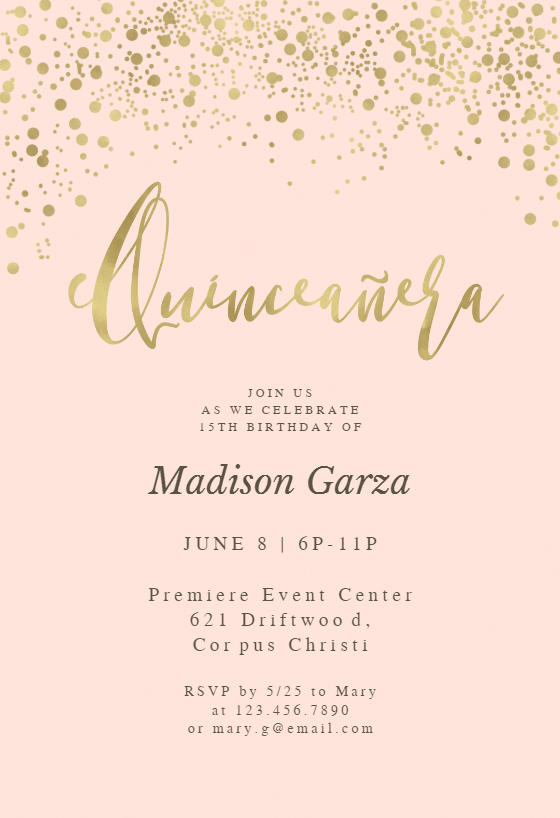 Gold Glitter On Pink Quinceanera Invitation Template Free Greetings Island Pink And Gold Invitations Quinceanera Invitations Pink Invitations