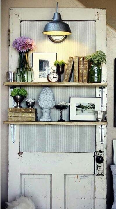 Old door repurposed as a quaint bookshelf 17 Creative Ways to