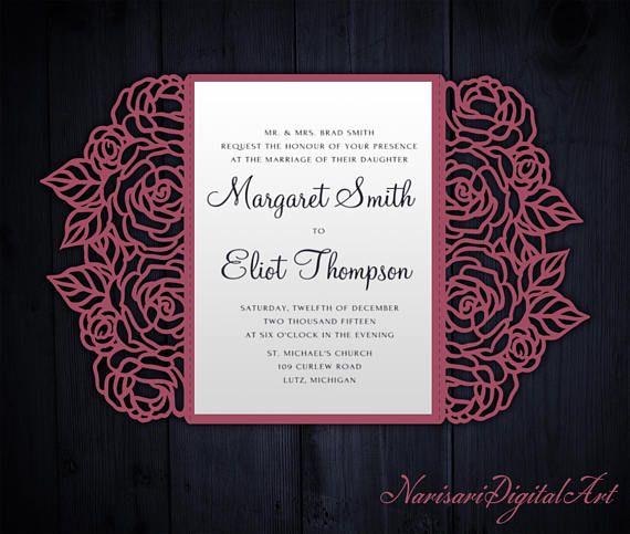 roses laser cut wedding invitation 5x7 gate fold card template