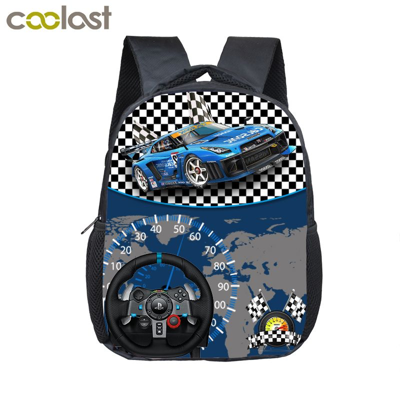 2d3b8c4a758e sale 12 inch cute racing car toddler backpack for kids children ...