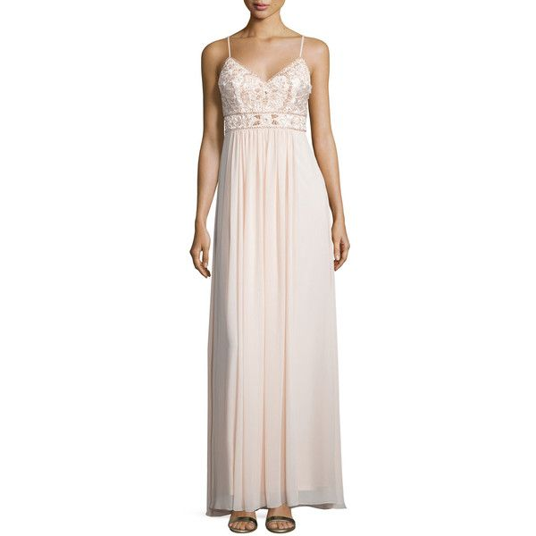 Sue Wong Sleeveless Embellished-Bodice Gown ($255) ❤ liked on Polyvore featuring dresses, gowns, blush, pink evening dress, embellished dress, sue wong evening gown, pink dress and v neck dress