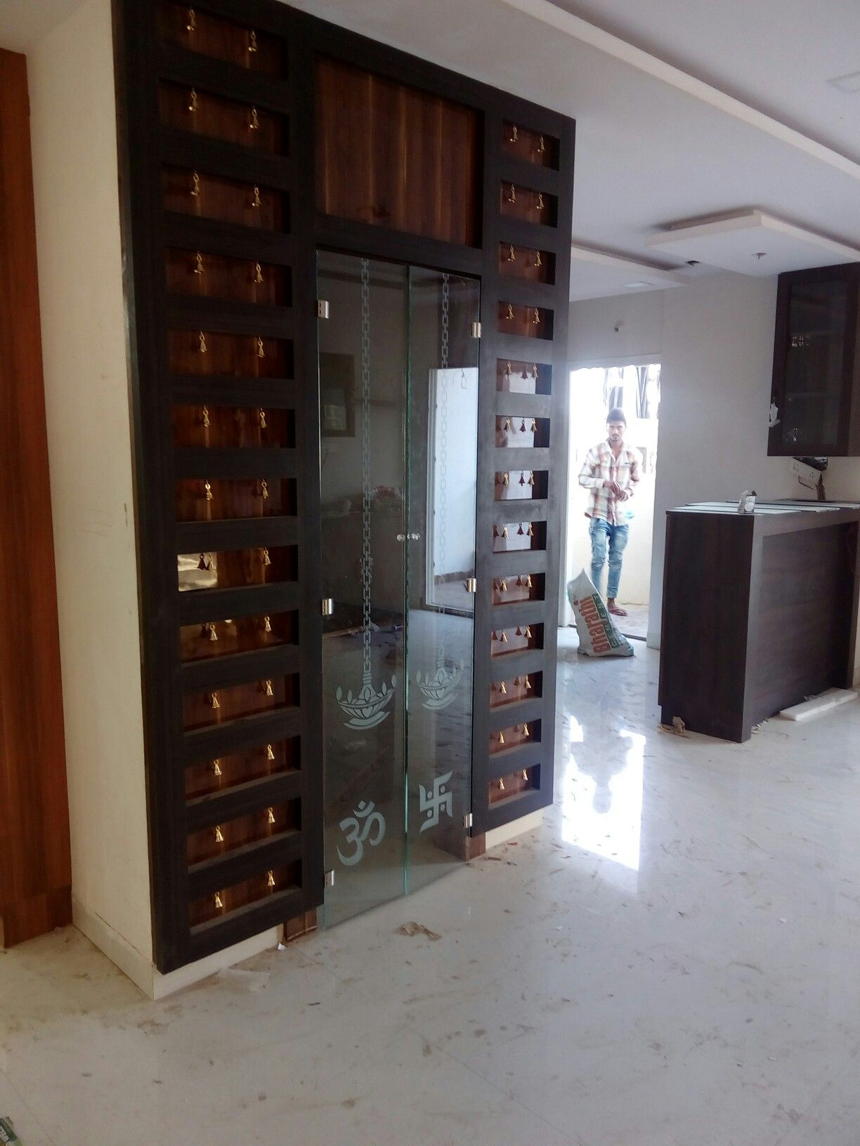 Pooja Room Door Design Photos Pictures: Puja Room Glass Door With Bells, Best Suit For Flats