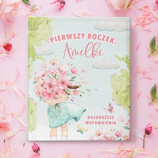 Album Na Zdjecia Prezent Roczek Dziewczynka Kwiaty
