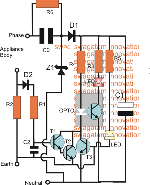 Earth leakage indicator circuit homemade circuit designs just earth leakage indicator circuit homemade circuit designs just for you ccuart Images