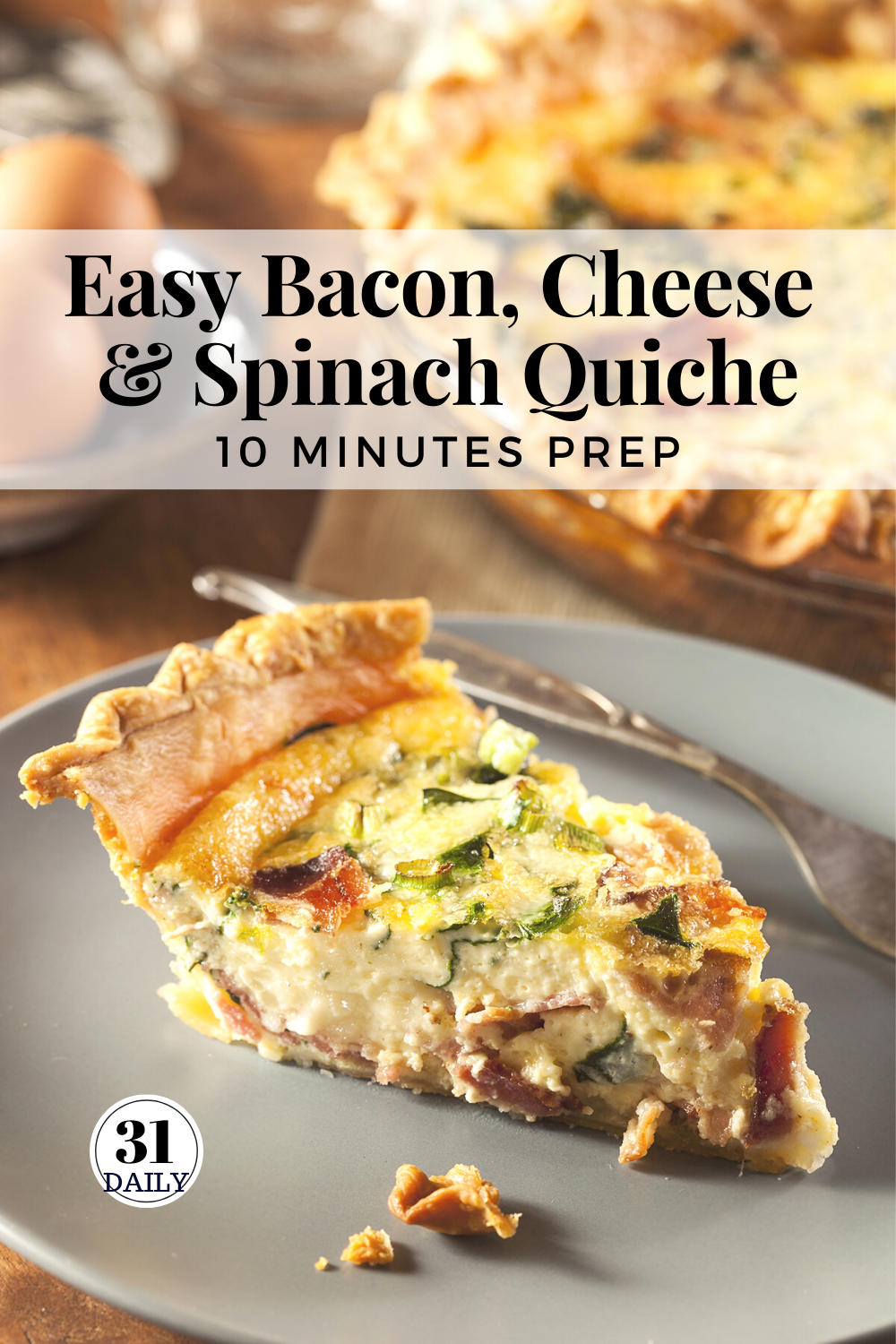 Easy Bacon Cheese And Spinach Quiche Recipe Quiche Recipes Easy Quiche Recipes Afternoon Tea Recipes