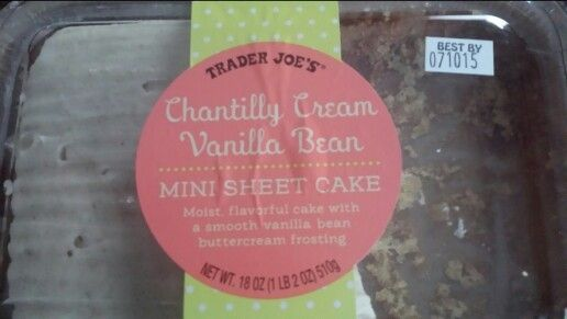Trader Joes Chantilly Cream Vanilla Bean Mini Sheet Cake Sheet Cake Vanilla Bean Chantilly Cream