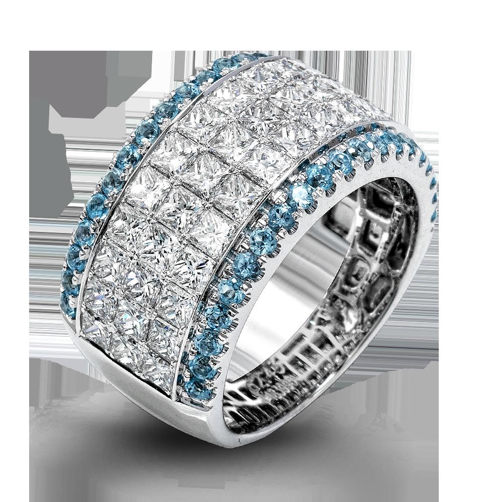 MR1725-483996-Simon G. custom made 18k white gold and blue-princess-diamonds simon set right hand fashion cocktail ring