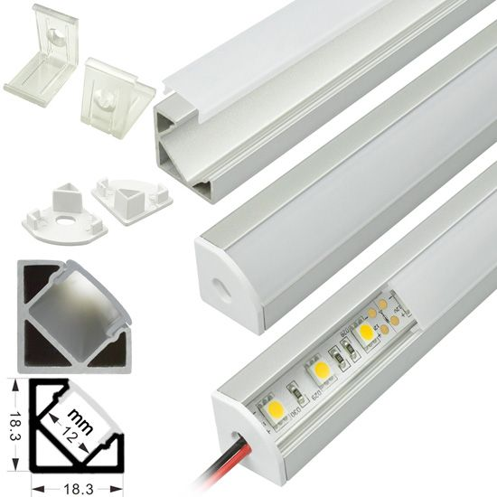 Corner Mount Aluminum Extrusion Profile Led Strip Fixture Channel Strip Light Housing Strip Lighting Rigid Led Light Bar Bar Lighting