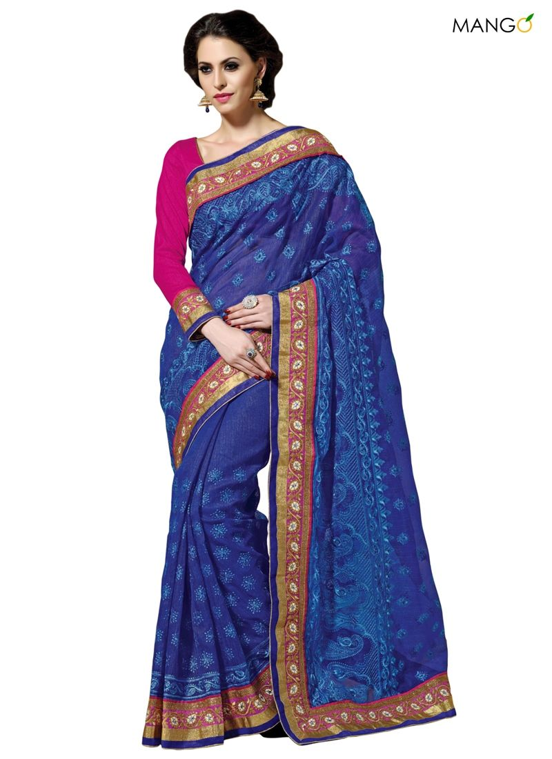 ORPHIC BLUE JUTE NET PARTY WEAR SAREE  CODE:-8388 PRICE:-4702/-