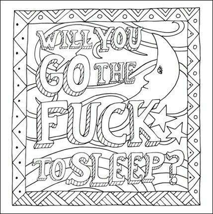 Will You Go The F To Sleep John T Adult Coloring Page Free