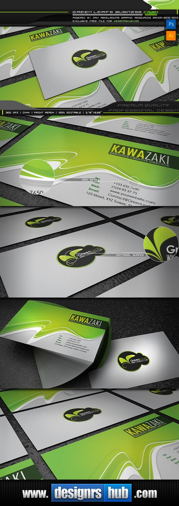 Green leaf free green business card template designrshub gallery today designrshub and zaki are really proud to present another exclusive freebie entitled green leaf a free green business card template psd and eps reheart Gallery