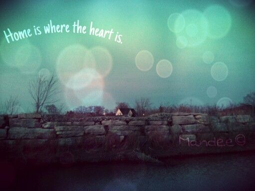 Photo/edit by me (: /Rock wall, pond, house, quote ;Mandee©