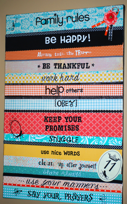 This would be way cute for the classroom!  Have the kids write the agreed upon rules and then mod podge to canvas!