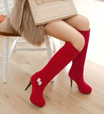 Cheap boots 5, Buy Quality shoe organiser directly from China shoe uk Suppliers: Spring/Autumn New 2014 Women Fashion Sexy Long Over The Knee High Boot Black+Red 10CM Slip-On Rhinestone High Heel Boots