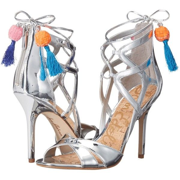 Sam Edelman Azela (Soft Silver Liquid Metallic) High Heels ($80) ❤ liked on Polyvore featuring shoes, sandals, silver, silver shoes, silver sandals, silver metallic shoes, beaded sandals and silver high heel sandals
