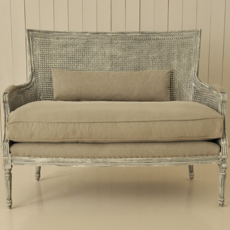 Berger Sofa Bench With Rattan Back Allissias Attic Vintage French Style