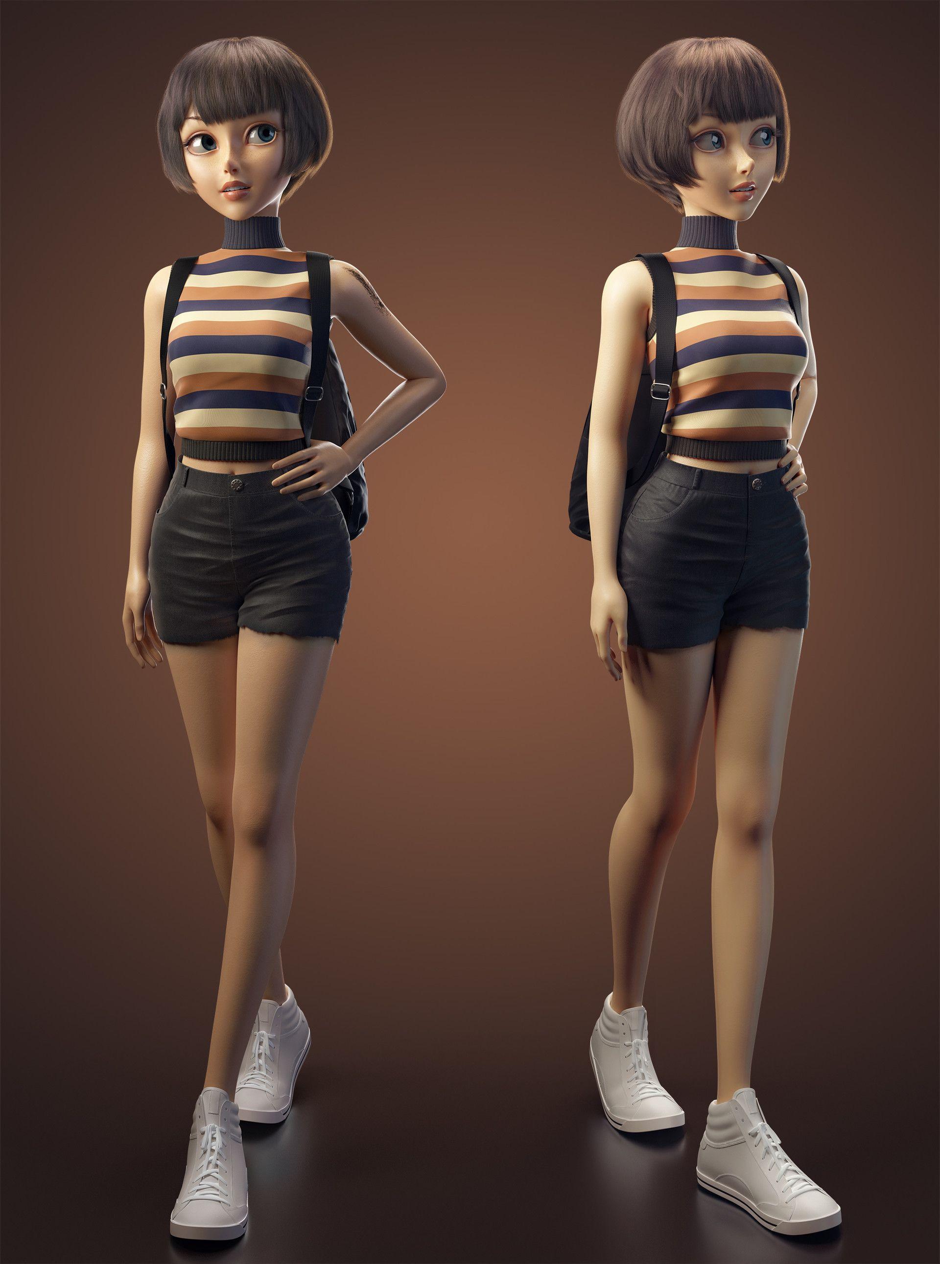 girl by Yuheng Jiang Cartoon 3D CGSociety Girl