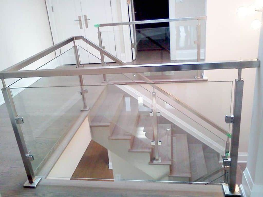 Long Lasting Stainless Steel Stair Railing Stair Railing Design | Stainless Steel Glass Staircase | Transparent | Handle | Powder Coated Steel | Open Tread | Black Stained
