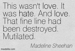 Esto no era amor.Era odio. Y amor. Esa fina linea había