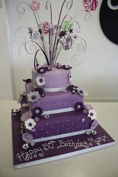 Purple Design 3 Tier Cake Tiered Cakes 50th