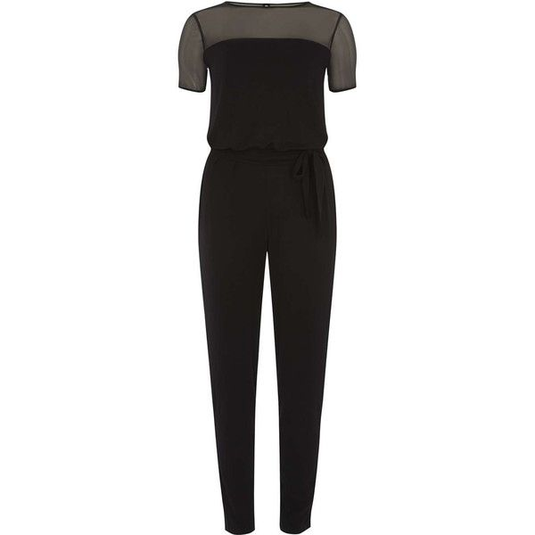 Dorothy Perkins black mesh top jumpsuit (65 CAD) ❤ liked on Polyvore featuring jumpsuits, black, jump suit, mesh jumpsuit and dorothy perkins