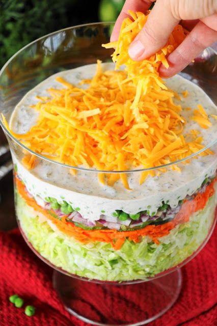 Make-Ahead Layered Salad {For a Crowd} | Layered salad ...