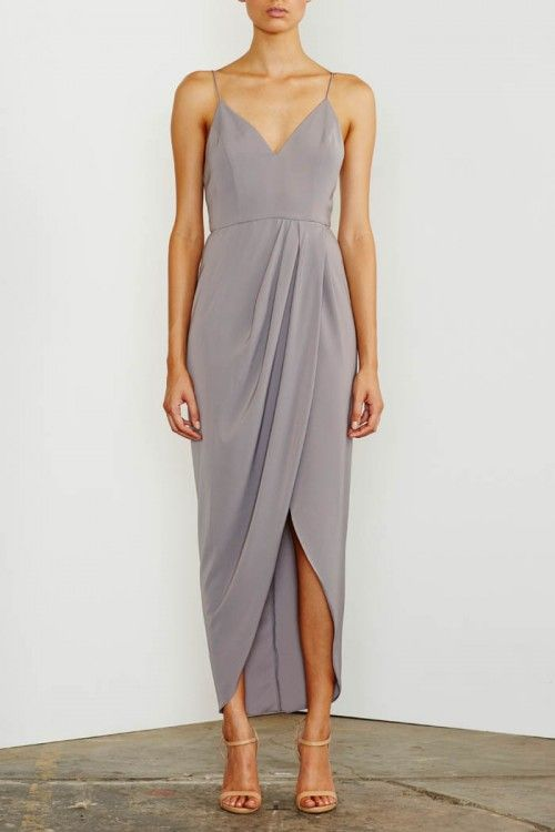 Shona Joy Cocktail Draped Maxi Dress Grey - Fox Maiden 4633f7211