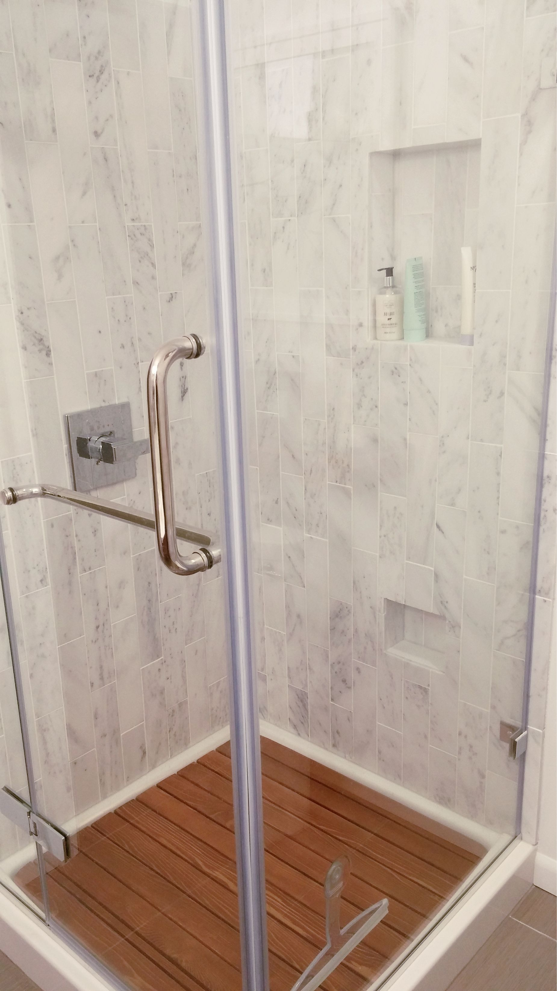 Diy Marble Shower With White Shower Base Removable Wood Shower Grate Floor And Vigo Clear Glass Surround Diy