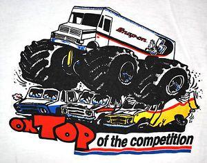 Vtg 80s Snap On Tools Monster Truck T Shirt Mens S Soft Thin 50 50 Racing Monster Trucks Car Cartoon Cartoon Art