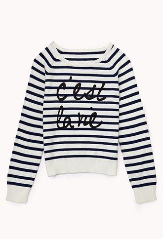 Cest La Vie Sweater Kids Forever21 Girls 2000050759 Catch