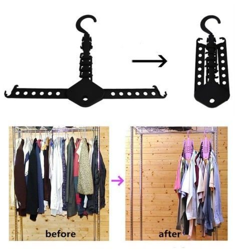 W W Folding Space Saving Magic Plastic Hanger Clothes Rack