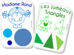 """Un petit affichage pour aider les élèves à mémoriser le nom des 4 principales formes géométriques à partir des """"Monsieur Madame"""". Il y deux triangles """"les Jumeaux"""" pour que les enfants ne retiennent pas qu""""une forme de triangle mais plusieurs."""