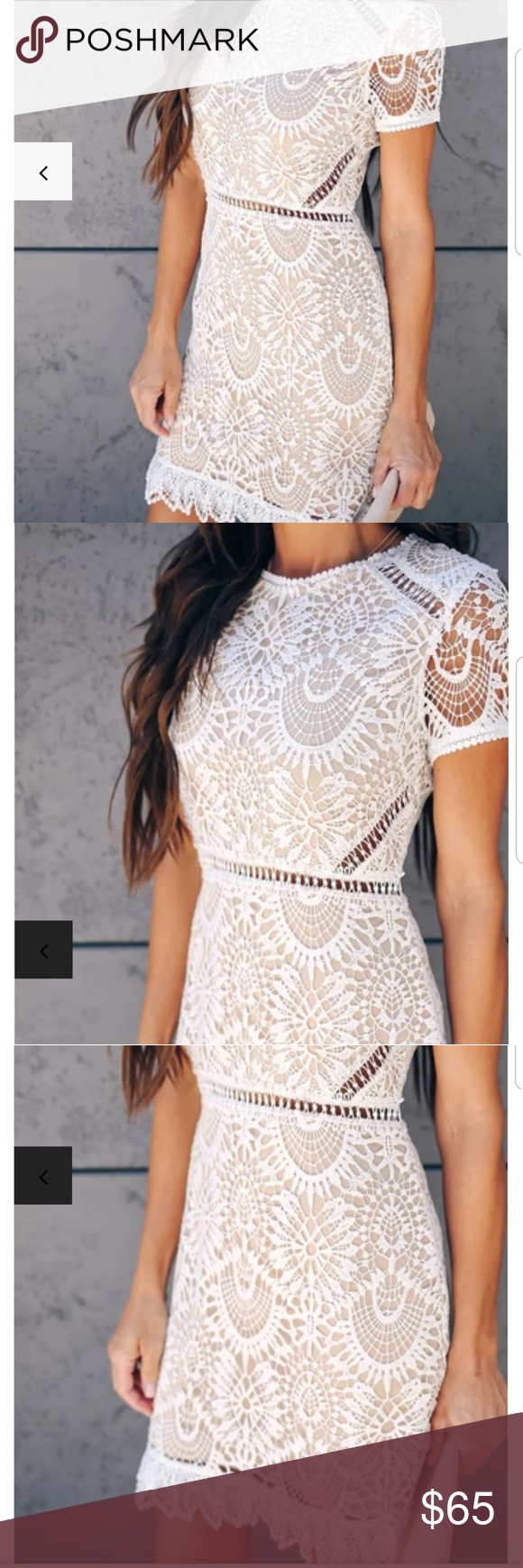 Vici White Lace Dress White Lace With A Tan Slip Underneath Only Worn Once Vici Dresses Midi Lace White Dress Lace Dress Vici Dress [ 1740 x 580 Pixel ]