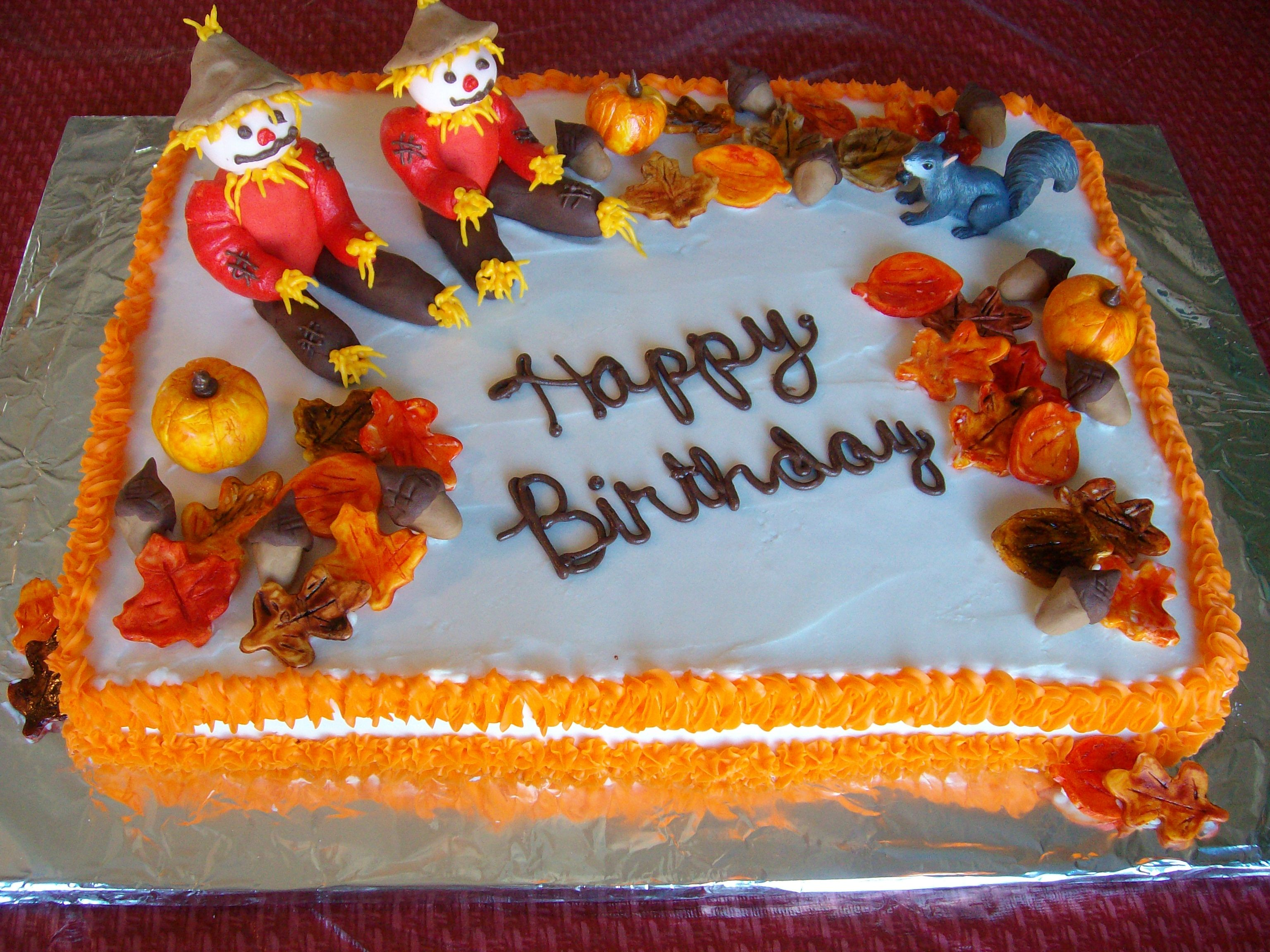 Terrific Fall Birthday Cake With Images Fall Birthday Cakes Funny Birthday Cards Online Aboleapandamsfinfo